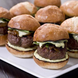 Kobe Beef Sliders With Tarragon Aioli and Caramelized Onions