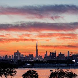 The Dreamy sunset of Dubai by Abbas Mohammed - City,  Street & Park  Skylines ( orange, red, cloud, new, burj khalifa, sunset, hdr, clouds, water, dubai )