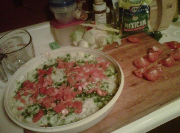 5th layer: Chopped tomatoes (I use fresh, has better flavor and you CAN taste...