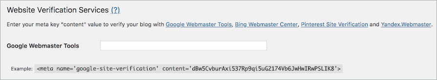 The Google Webmaster Tools field is empty.