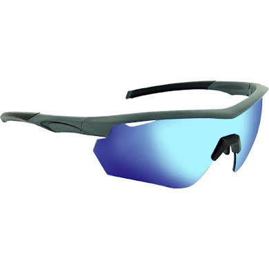 Optic Nerve Switchback Sunglasses: Matte Gray/Black Tips, with Smoke/Blue Flash Lens, and additional Copper and