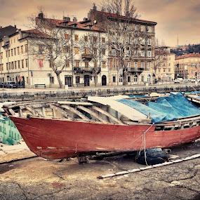 At the docks by Goran Grudić - Transportation Boats ( rijeka, croatia, boat, docks, dock, river )