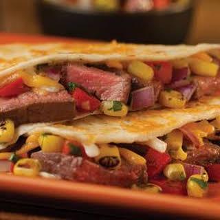 Grilled Beef Tenderloin Quesadilla with Roasted Corn Salsa.