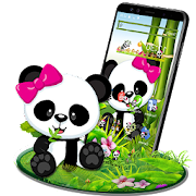 Cute Eating Bamboo Baby Panda Theme