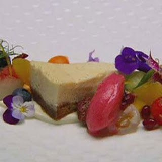 Lemon and Ricotta Cheesecake with Fruit Salad.
