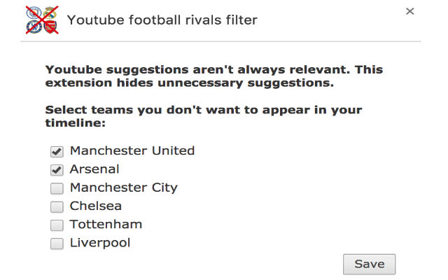 Youtube football rivals filter