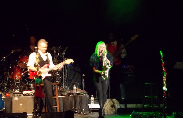 Mindi playing last Nov at Christmas tour concert in Austin with Peter White