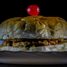 Burger by Rahul Manoj - Novices Only Objects & Still Life ( black background, cherry, burger, red, plate, brown )