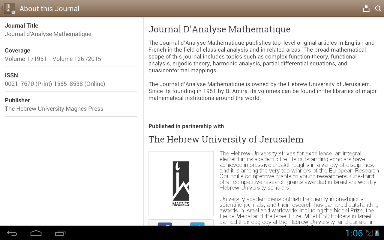 Journal D'Analyse Mathematique- screenshot