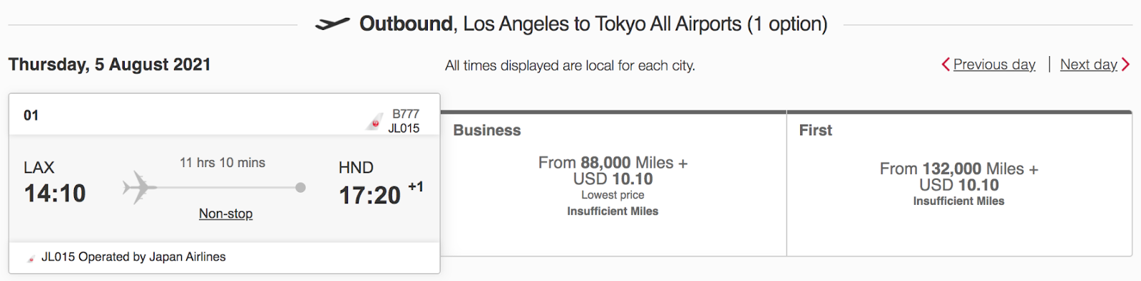 Outbound flight from Los Angeles to Tokyo