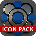 Black silver blue Icon Pack 3D icon