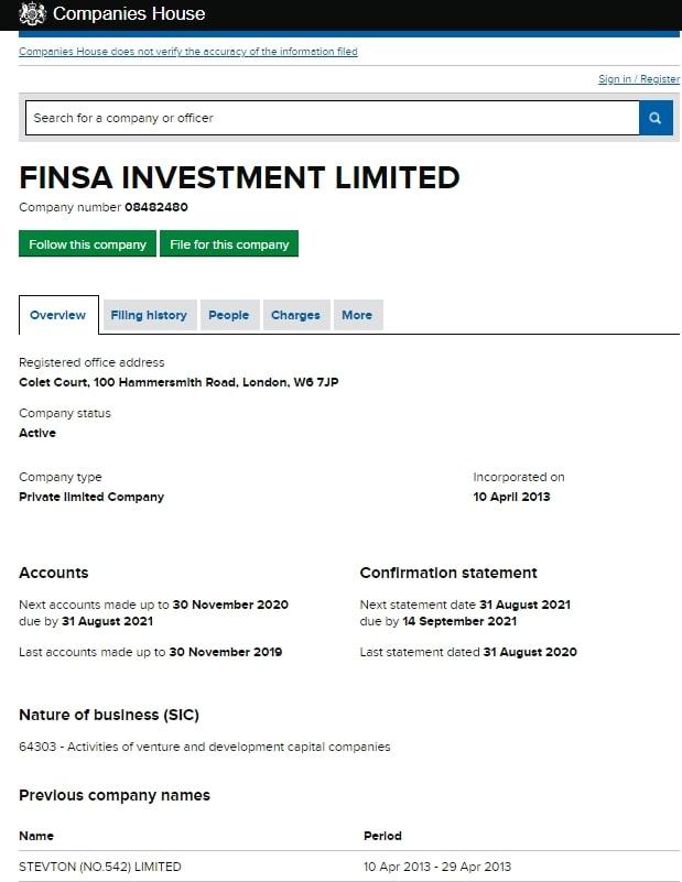 Отзывы о Finsa Investment Limited и обзор условий сотрудничества