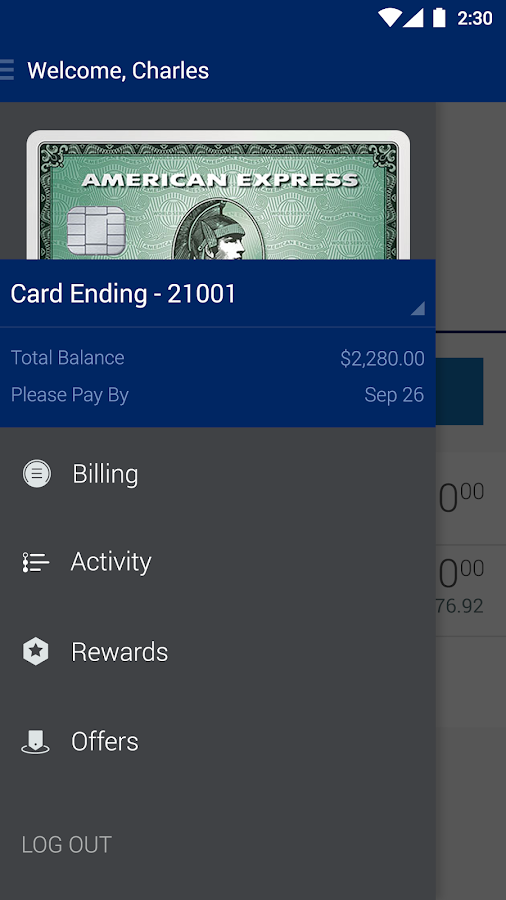 Amex Mobile- screenshot