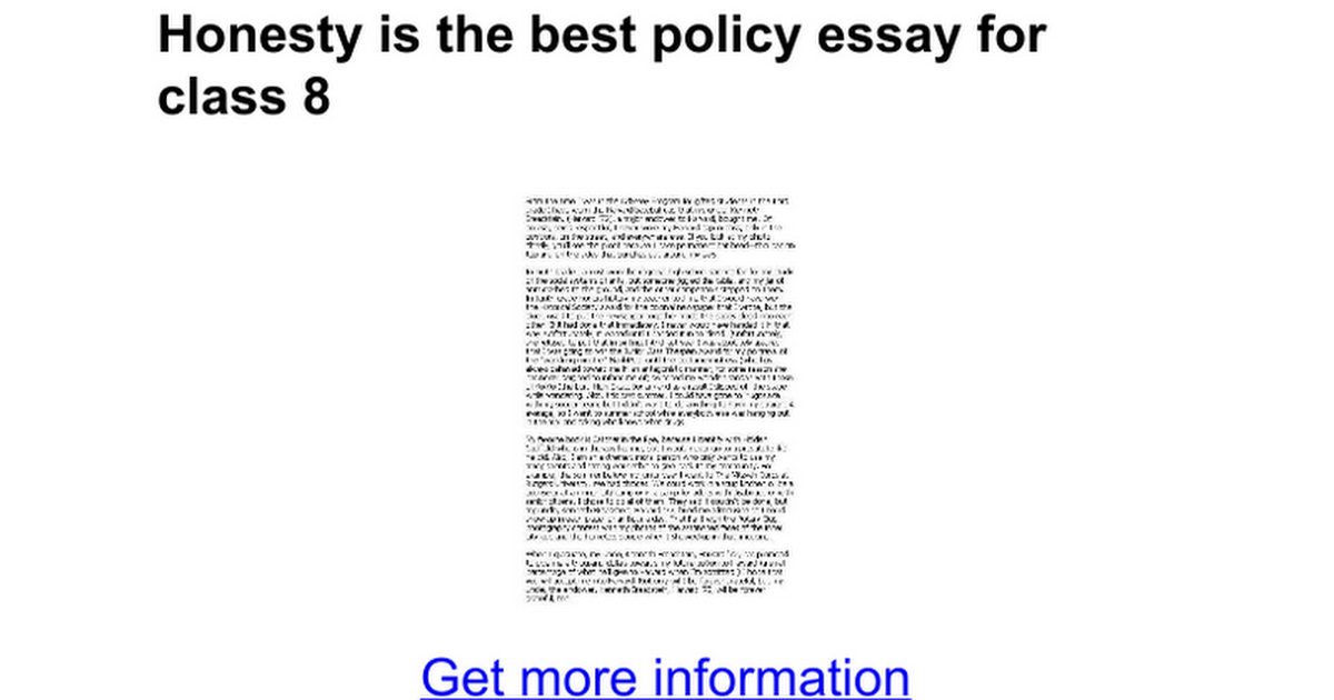 honesty is the best policy essay for class google docs