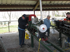 Photo: Pete Green making steam up preparations on his 4-4-2.  HALS 2009-0228