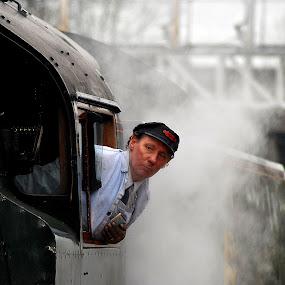 Await   the  sgnal by Gordon Simpson - Transportation Trains