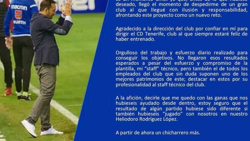 Carta de Fran Fernández para los seguidores del CD Tenerife.