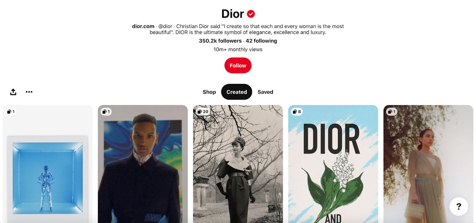 Pinterest Example for Luxury Brand: Dior