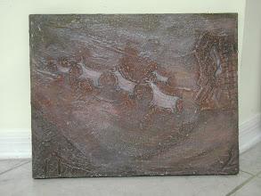 """Photo: María del Carmen Cachin Marusich """"VENADOS Y GEOMETRÍAS"""" Cañón de Talampaya, La Rioja. Serie Petroglifos 35 cm x 45 cm / 13.8 x 17.8 Estuco, pigmentos naturales sobre Tela Córdoba, Argentina. 2002"""