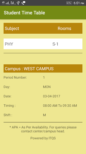 Student Time Table app (apk) free download for Android/PC/Windows screenshot