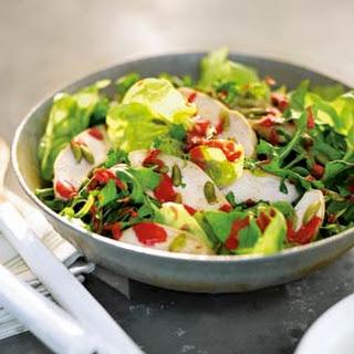 Chicken, Bibb, and Arugula Salad with Raspberry Vinaigrette.
