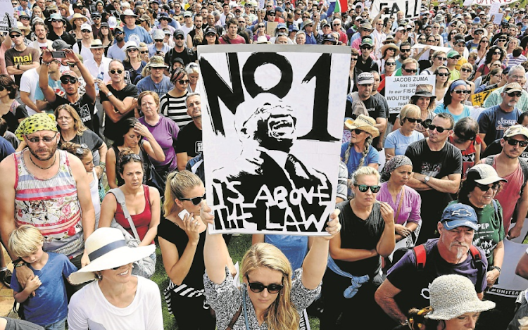People march during the ' Zuma Must Fall'  protest in Cape Town on December 16 last year.  Picture: THE TIMES