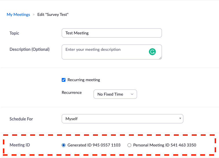 meeting i.d. radio buttons