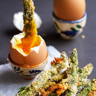 Roasted Asparagus Dipped in a Soft Boiled Egg.