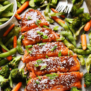 One Pan Miso Glazed Salmon and Vegetables.