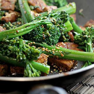 Broccolini with Tofu, Sesame and Coriander.