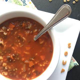 Lentil Alphabet Soup.
