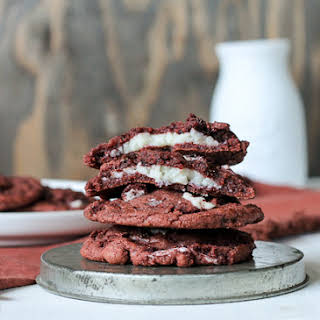Red Velvet Oreo Cookies with Cheesecake Filling.