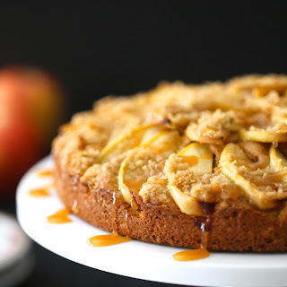 Pumpkin Apple Cake with Caramel Sauce