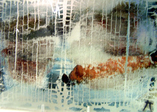 Photo: 'Storm', 2007 - Fused stained glass cable-hung panel - 24x33cms - SALE PRICE £80