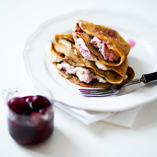 Coffee Crepes with Ricotta Cheese and Cherries in Syrup Recipe