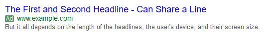 Mẫu quảng cáo Google AdWords nên để tiêu đề nằm cùng dòng