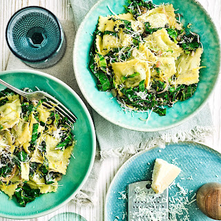 Ravioli With Buttered Lemon Greens.