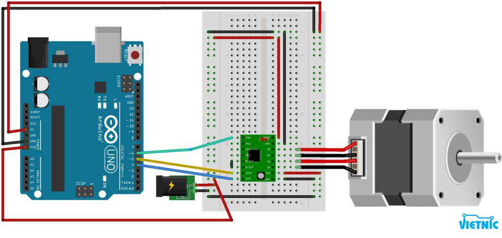 nối dây driver, động cơ bước và Arduino