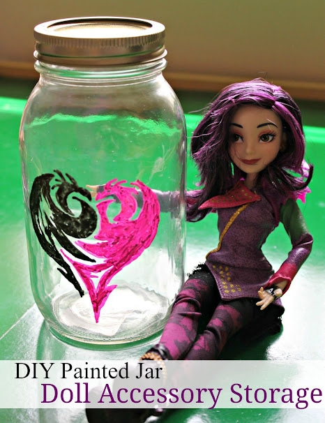 Disney Descendants DIY Painted Jar with Mal's icon. Great to store your Descendants doll accessories in!