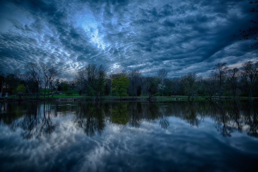 Fox River Clouds by Cliffie Scott-Williams - Landscapes Cloud Formations ( clouds, reflection, sun set, twilight, fox river, rivers, nightfall, dusk, merge to 32-bit hdr, mirror, geographic features, sunset, mirrored, sundown, weather, cloud, evening )