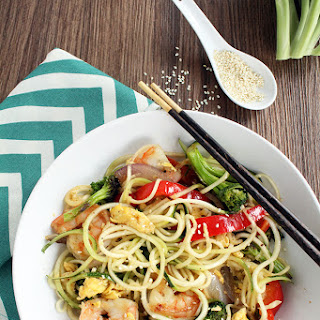 "Teriyaki Zucchini ""Fried"" Noodles with Shrimp, Peppers, Onions and Broccoli Recipe"