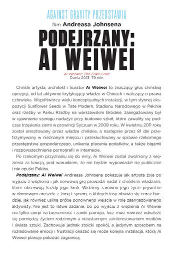 Tył ulotki filmu 'Podejrzany: Ai Weiwei'