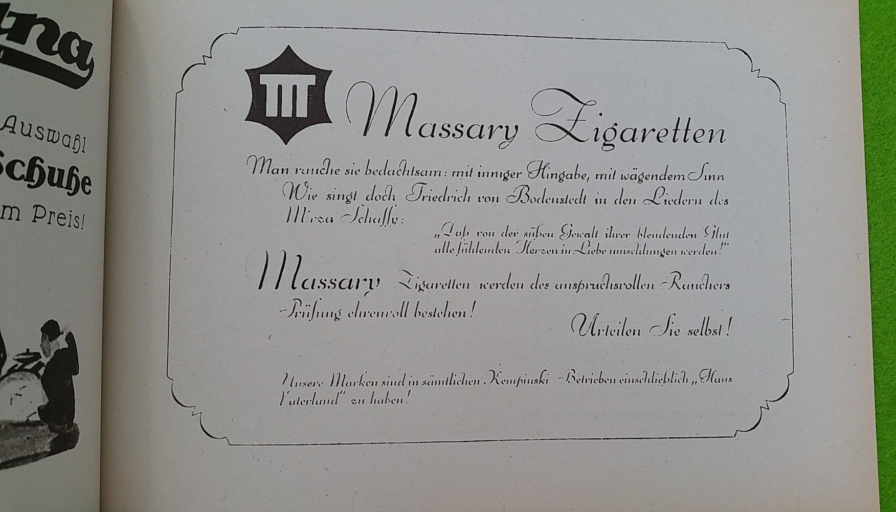 Begleitheft zur Eröffnung von Haus Vaterland am Potsdamer Platz, Berlin, 31. August 1928 - Massary Zigaretten