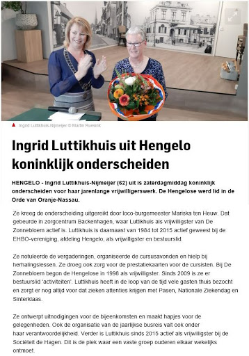 2019-05-180 Ingrid onderscheiden: Lid in Orde van Oranje-Nassau