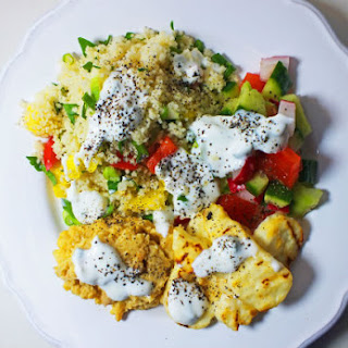 Halloumi and Couscous Salad with Hummus