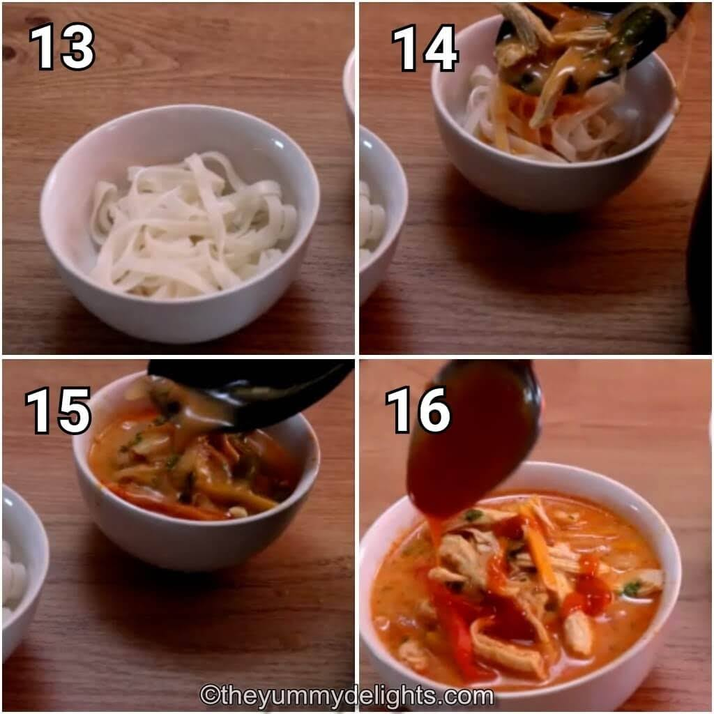 step by step images of pouring the Thai chicken soup over the rice noodles in the soup bowl.