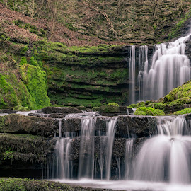 Scaleber Waterfall by Darrell Evans - Nature Up Close Water ( outdoor, falls, scaleber force waterfall, yorkshire dales, rocks, grass, waterfall, water, flow, stone )