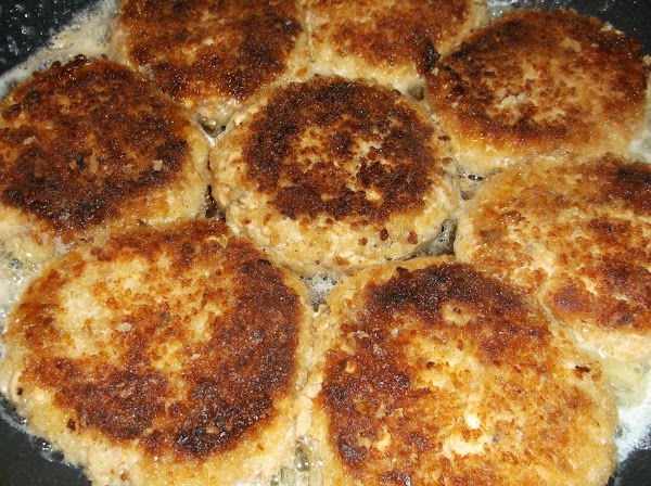 Press the patties lightly as they fry. They will be firm and browned when...