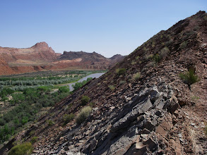 Photo: A hike up uplifted ridge line reveals the Mule Ear & Chinle Creek panorama across the river. Looking West