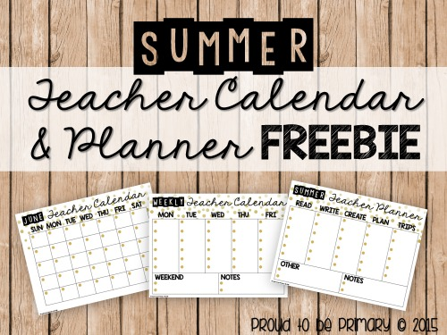 Teacher Organization: Free Summer Teacher Calendar/Planner